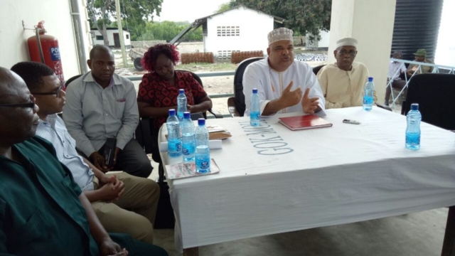 H.E Fahim Twaha with other County Executive adressing the striking Faza Health workers.